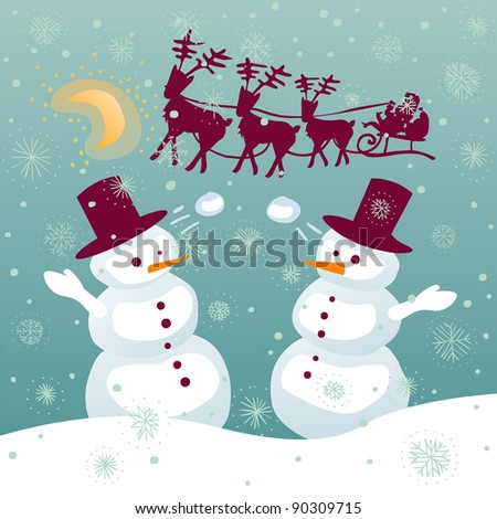 Couple of snowman playing with snowballs while santa is flying on a sledge with reindeer - stock photo