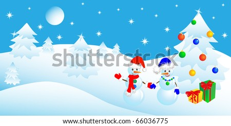 couple of snowmen in the winter woods near a Christmas tree with gifts, illustration - stock photo