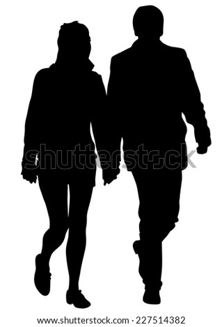 Couple of women and man on white background - stock photo