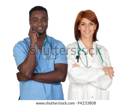 Couple of young doctors a over white background - stock photo