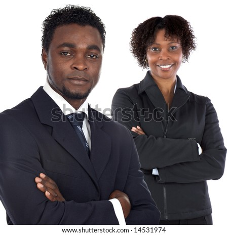 Couple of young executives a over white background