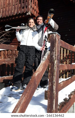 Couple on a skiing holiday together - stock photo