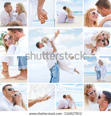 Couple on the beach mix composed of a few images