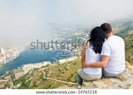 Couple on the mountain - stock photo