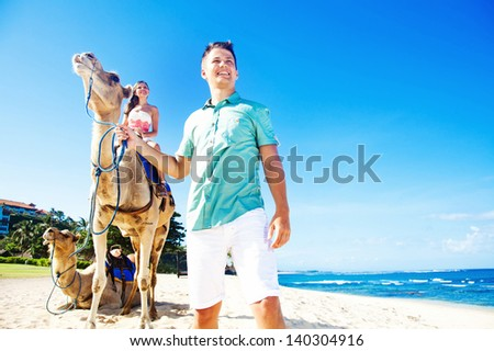 Couple on wedding day in Bali - stock photo