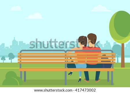 Couple outdoors in the park sitting on the bench and looking at the city. Flat romantic illustration of young people leisure time - stock photo
