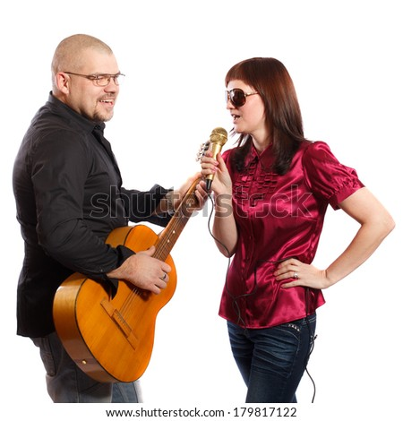 couple playing guitar and sing on a white background