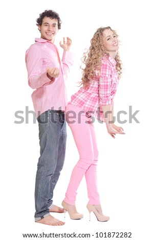 couple posing on white background - stock photo