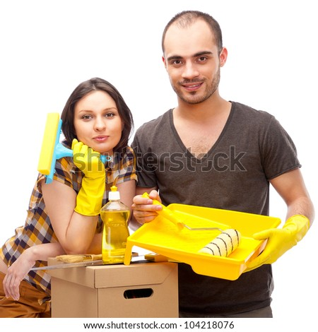 Couple preparing for renovation of their home - stock photo