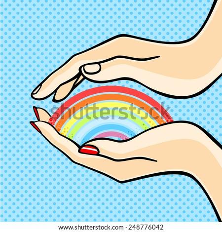 Couple protecting rainbow (raster version) - stock photo