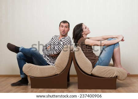 Couple quarreling with each other - stock photo