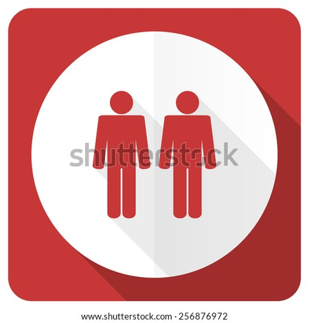 couple red flat icon people sign team symbol  - stock photo