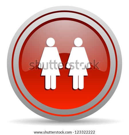 couple red glossy icon on white background