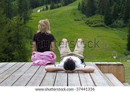 couple relaxing - stock photo