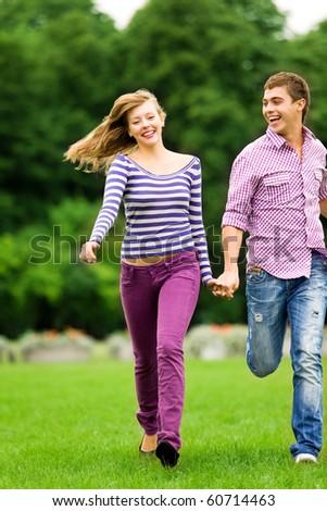 Couple running - stock photo