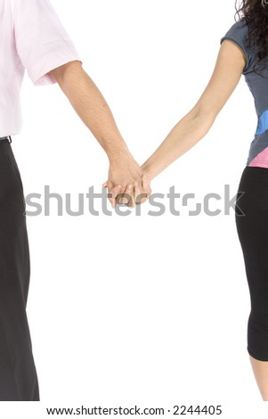 couple's hands on the white background - stock photo