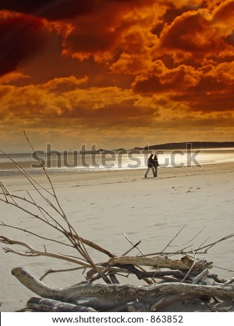 couple silhouetted on swansea bay. driftwood in foreground - stock photo