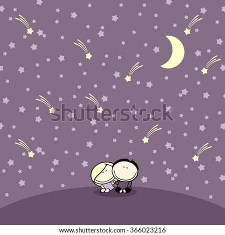 Couple sitting under night starry sky (raster version) - stock photo