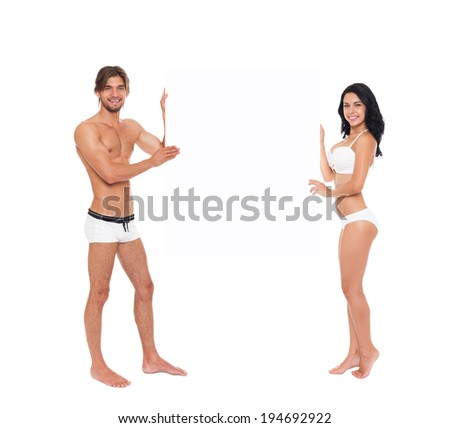 Couple smile wear swimsuit show blank board empty copy space, young man and woman tanned body swimwear full length isolated over white background