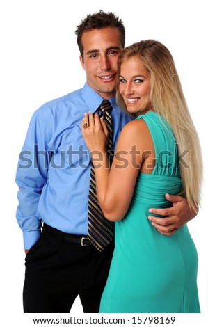 Couple smiling isolated over a white background - stock photo