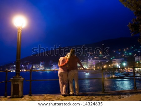 Couple standing near the sea and looking at night city panorama - stock photo