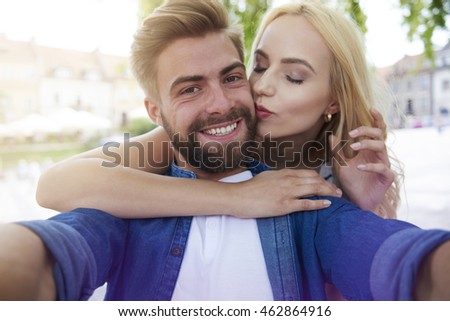 Couple taking close picture