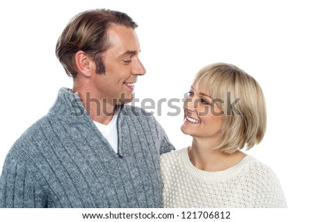 Couple talking the language of love through their eyes. - stock photo