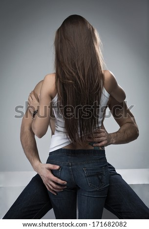 Couple touching each other - stock photo
