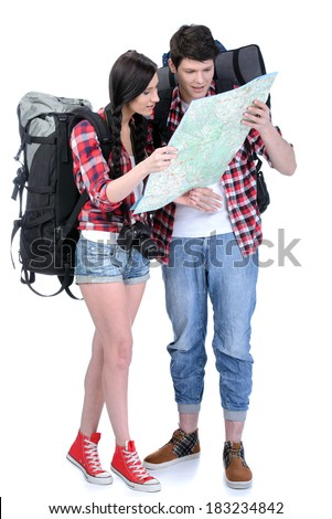 Couple tourists, woman and man, with backpacks, isolated on white background - stock photo