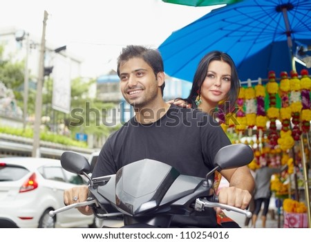 Couple traveling in Asian country - stock photo