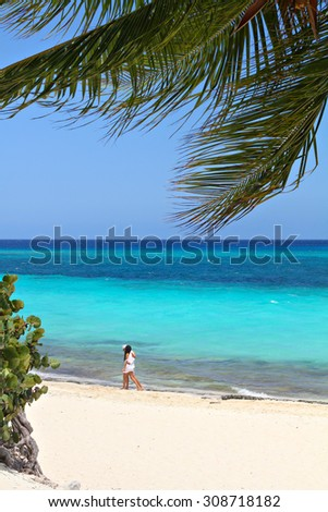 Couple walking along the beach on the sea background - stock photo