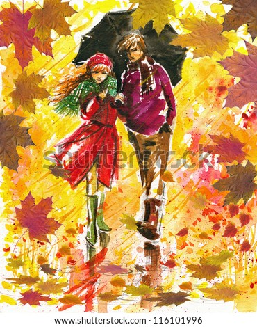 Couple walking at alley in autumn park.Picture I have created with watercolors. - stock photo