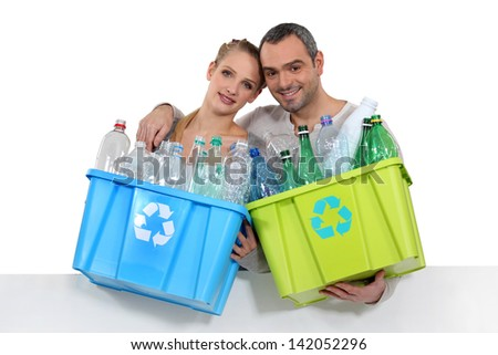 couple waste sorting - stock photo