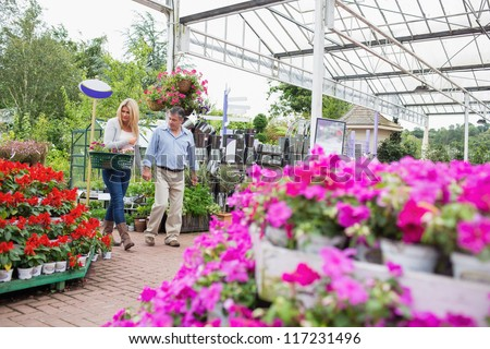 Couple with basket walking through garden center looking at flowers and holding hands - stock photo