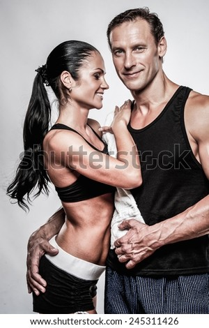 Couple with beautiful athletic bodies  - stock photo
