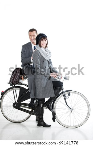 Couple With Bicycle - stock photo