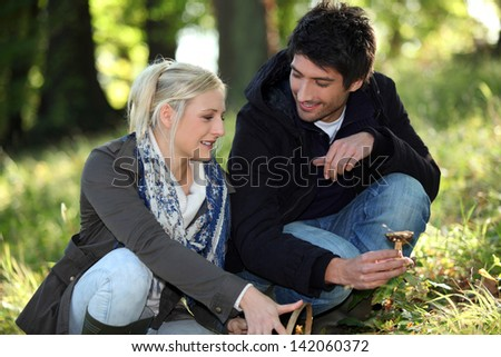 Couple with mushrooms