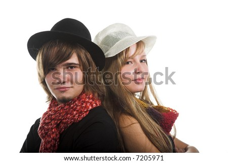 couple young lovers isolated on the white