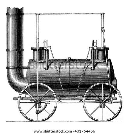 Coupled wheels Locomotive, G. Stephenson, vintage engraved illustration. Magasin Pittoresque 1861. - stock photo