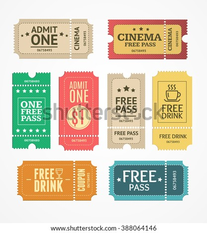Coupon and Tickets Set. Free Labels. illustration