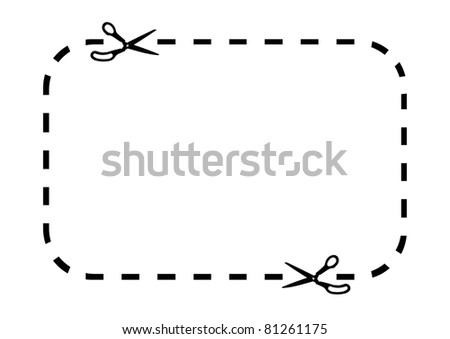 Coupon border on white - stock photo