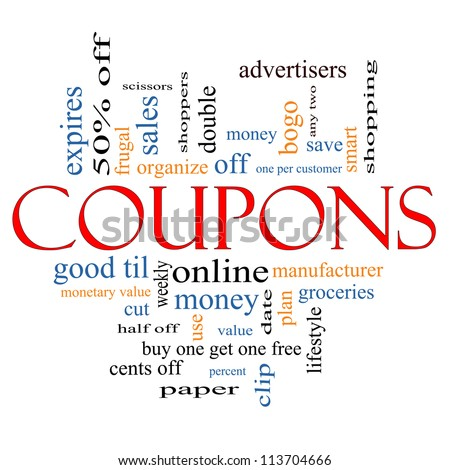 Coupons Word Cloud Concept with great terms such as groceries, save, money, clip and more.