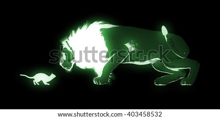 Courage as a Business Concept with Kitten and Lion 3D Illustration Render - stock photo