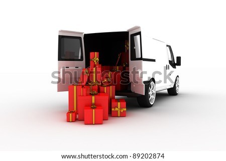 Courier bus with gift boxes