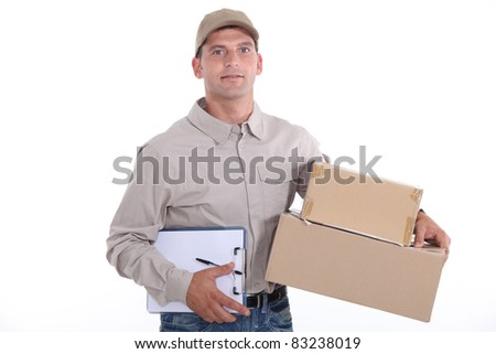 Courier delivering packages - stock photo