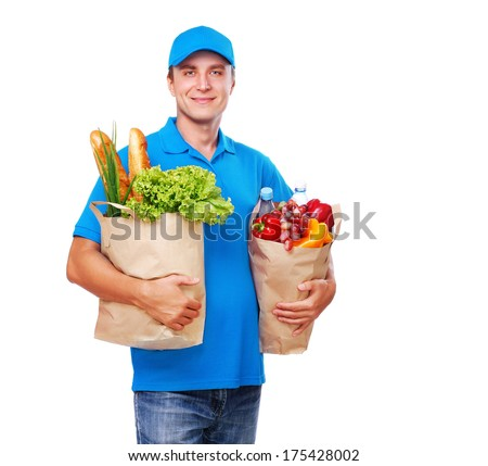 Courier delivering products - stock photo
