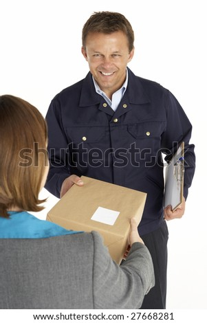 Courier Handing Over A Parcel To An Office Worker - stock photo