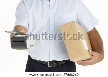 Courier Holding A Parcel And An Electronic Clipboard - stock photo