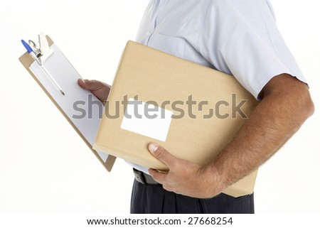 Courier Holding A Parcel And Clipboard - stock photo