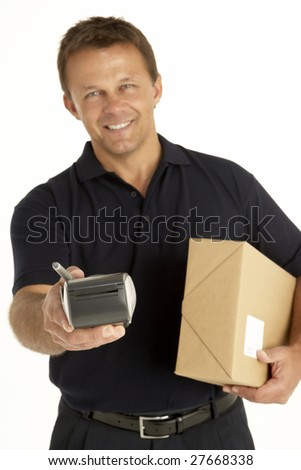 Courier Holding A Parcel And Electronic Clipboard - stock photo